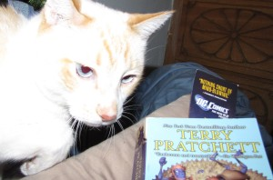 Tofu was rather squirmy, wanting to love on the camera instead of posing with the book.
