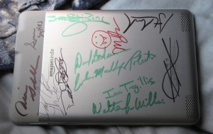 The signed Kindle.