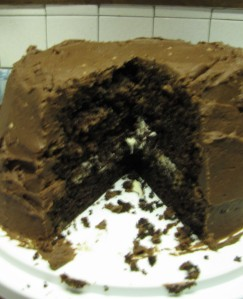 Three layers of home made cake.