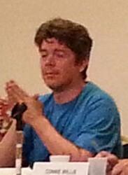 Daniel Abraham moderating the Sidekicks & Minions panel, Bubonicon 2014